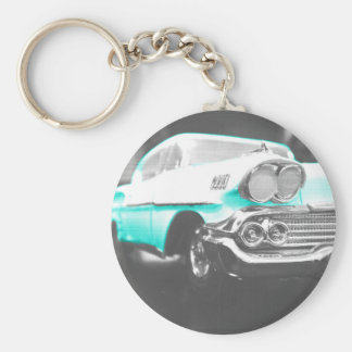 1958 chevy impala bright blue classic car key ring