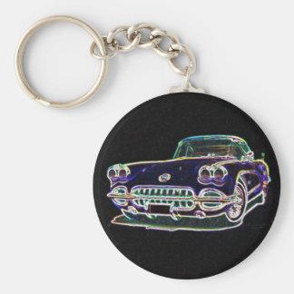 1958 Corvette Basic Round Button Key Ring