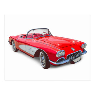 1958 Corvette Convertible Red Classic Car Postcard