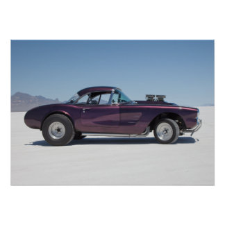 1958 corvette race car on the salt flats poster
