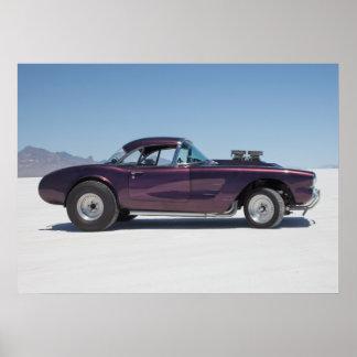 1958 corvette race car on the salt flats poster