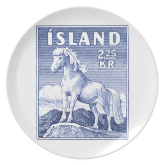 1958 Icelandic Horse Postage Stamp Dinner Plate