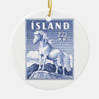 1958 Icelandic Horse Postage Stamp Round Ceramic Decoration