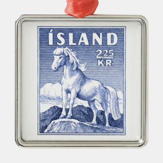 1958 Icelandic Horse Postage Stamp Silver-Colored Square Decoration