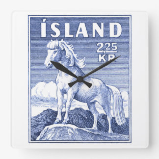 1958 Icelandic Horse Postage Stamp Square Wall Clock