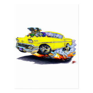 1958 Impala Yellow Car Postcard