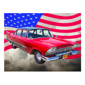 1958 Plymouth Savoy Car With American Flag Postcard
