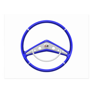 1959 Blue Chevrolet Steering Wheel Postcard