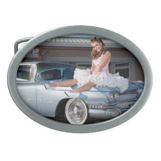 1959 Caddy Cadillac Princess Pin Up Car Girl Belt Buckles