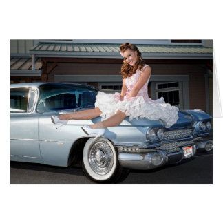 1959 Caddy Cadillac Princess Pin Up Car Girl Card
