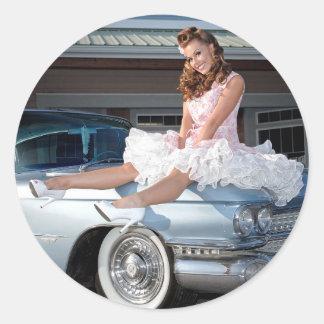 1959 Caddy Cadillac Princess Pin Up Car Girl Classic Round Sticker