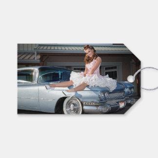 1959 Caddy Cadillac Princess Pin Up Car Girl Gift Tags