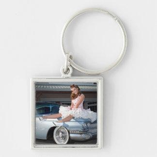 1959 Caddy Cadillac Princess Pin Up Car Girl Key Ring