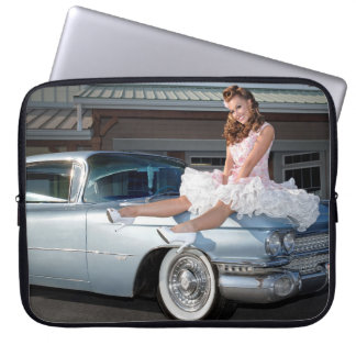 1959 Caddy Cadillac Princess Pin Up Car Girl Laptop Sleeve