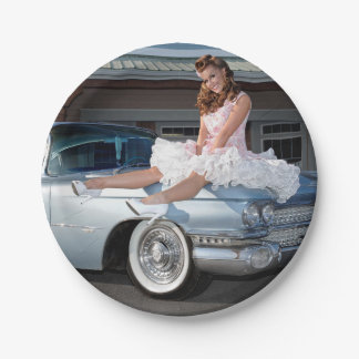 1959 Caddy Cadillac Princess Pin Up Car Girl Paper Plate