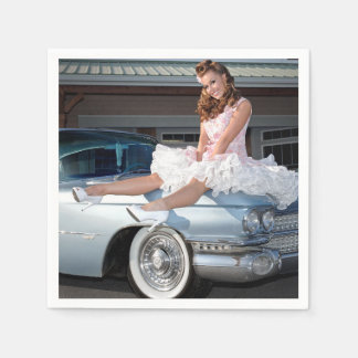 1959 Caddy Cadillac Princess Pin Up Car Girl Paper Serviettes