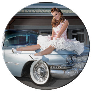 1959 Caddy Cadillac Princess Pin Up Car Girl Plate