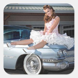 1959 Caddy Cadillac Princess Pin Up Car Girl Square Sticker
