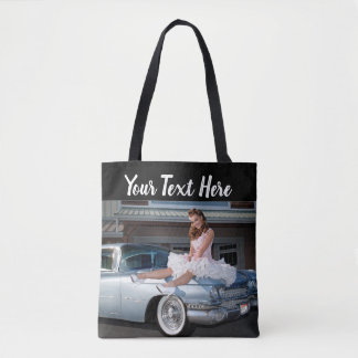 1959 Caddy Cadillac Princess Pin Up Car Girl Tote Bag