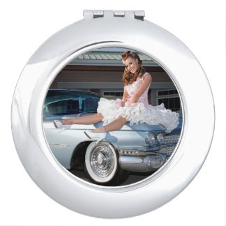 1959 Caddy Cadillac Princess Pin Up Car Girl Travel Mirror