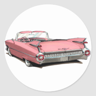 1959 Cadillac Pink Car Classic Round Sticker