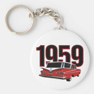 1959 Chevy Wagon Basic Round Button Key Ring