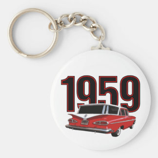 1959 Chevy Wagon Basic Round Button Key Ring