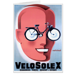 1959 Solex Powered Bicycle Advertising Poster Card