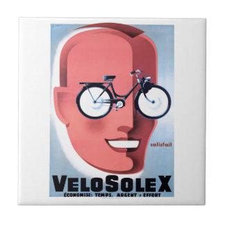 1959 Solex Powered Bicycle Advertising Poster Ceramic Tile