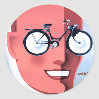 1959 Solex Powered Bicycle Advertising Poster Classic Round Sticker