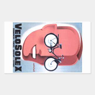 1959 Solex Powered Bicycle Advertising Poster Rectangular Sticker