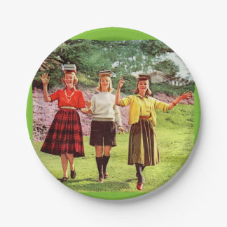 1960 teenage girls with books on their heads 7 inch paper plate