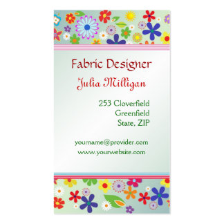1960-x style colorful Flower power pattern Business Card Template
