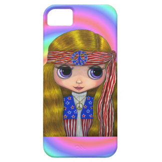 1960s, 1970s Hippie Chick in Stars and Stripes Barely There iPhone 5 Case