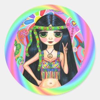 1960s, 1970s Peace Sign Rainbow Hippie Chick Round Sticker