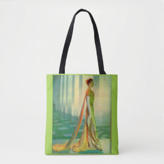 1960s beautiful lady in evening gown tote bag