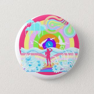 1960's Hippy Style Art 6 Cm Round Badge