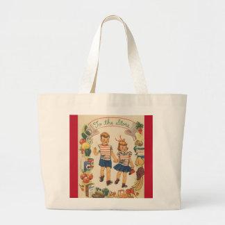 1960's Kids Shopping Large Tote Bag