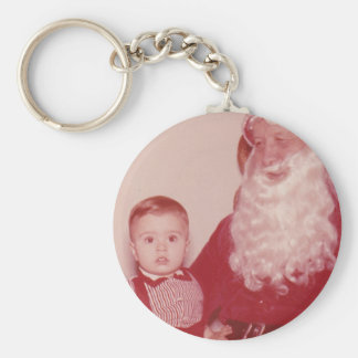 1960's Little Boy and Santa Basic Round Button Key Ring