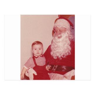 1960's Little Boy and Santa Postcard