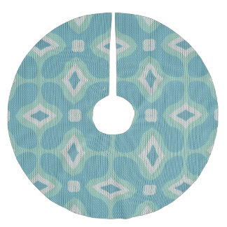 1960s Mod Sweater Pattern - Muted Aqua and Green Brushed Polyester Tree Skirt