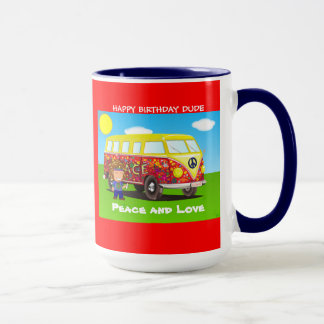 1960s: Peace and Love, Far Out, birthda coffee mug