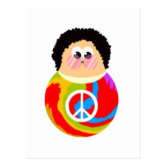 1960's Peace Sign Cartoon Character Kid Postcard
