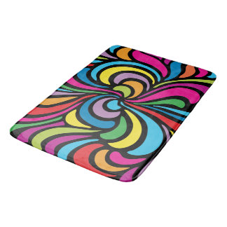 1960s Psychedelic Abstract Swirl Pattern Bath Mat