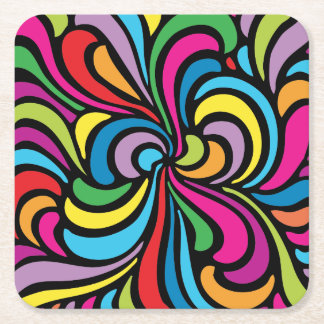 1960s Psychedelic Abstract Swirl Pattern Square Paper Coaster