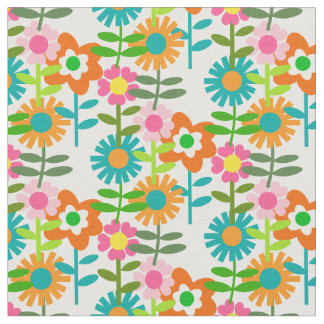 1960's Style Flowers Fabric