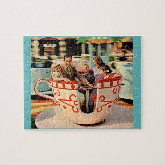 1960s teacup ride at the amusement park jigsaw puzzle