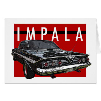 1961 Black Chevy Impala Bubble Top Rear View Card