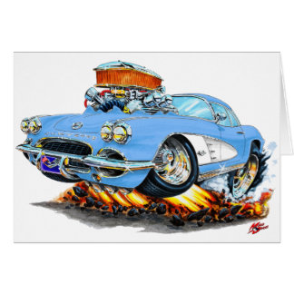 1961 Corvette Lt Blue Car Card