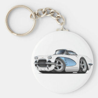1961 Corvette White-Blue Car Key Ring